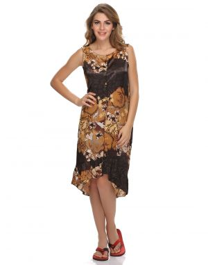 Buy Clovia Satin Sexy Satin Nightdress In Brown online