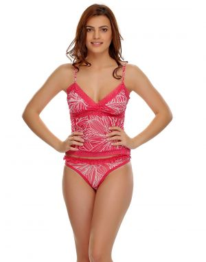 Buy Clovia Net Camisole & Brief Set In Pink online