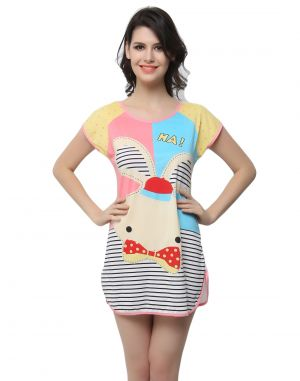 Buy Clovia Cotton Blended Long Night T-Shirts With Cute Prints online