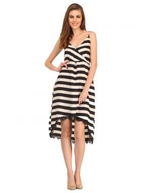 Buy Clovia Sailor Stripe Dress In Black Ns0539p13 online