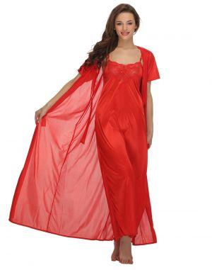 Buy Clovia 4 PCs Satin Nightwear In Red Ns0549p04- Free Size online