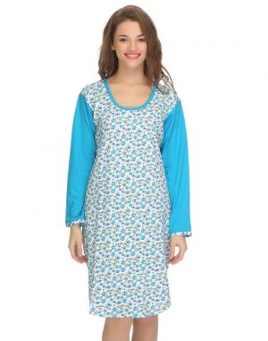 Buy Clovia Cotton Comfy Nightdress In Blue Ns0557p03 online