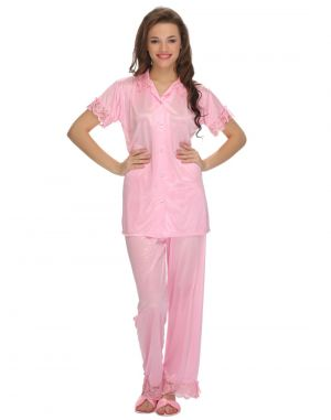 Buy Clovia Nightsuit In Baby Pink online