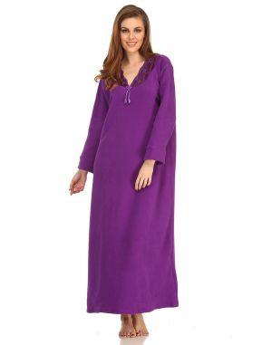 Buy Clovia Winter Long Nighty In Dark Purple Ns0570p15- Free Size online