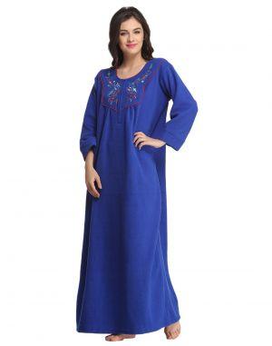 Buy Clovia Winter Long Nighty In Royal Blue Ns0573p08- Free Size online