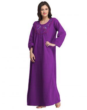 Buy Clovia Warm Fleece Nighty Ns0573p15- Free Size online