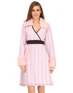 Buy Clovia Pink Winter Short Nightdress With Fur Collar Ns0577p22 online