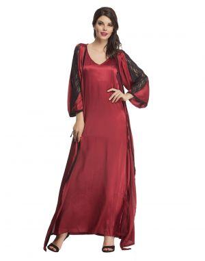 Buy Clovia Satin Nightwear Set Of Long Nighty & Robe In Maroon Ns0608p09 online