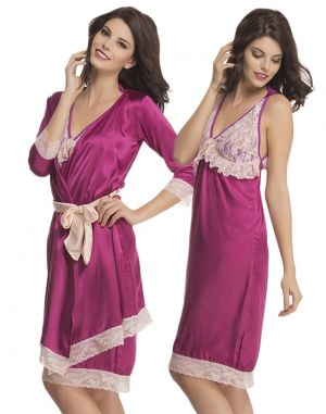 Clovia 2 Pcs Lace And Satin Nighty With Robe In Dark Purple  Ns0612P15