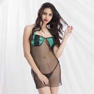 Buy Sheer Halter Neck Babydoll With Thong (ns0808p13) online