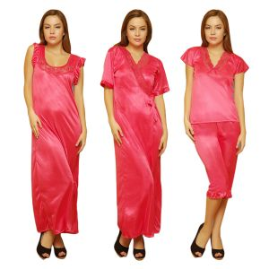 Buy 4 PCs Freesize Stretchable Satin Nightwear In Reddish Pink Color online