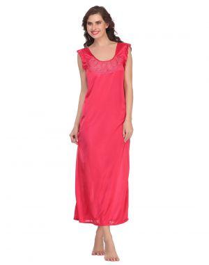 Buy Clovia Satin Nighty In Hot Pink Nsm282p22- Free Size online