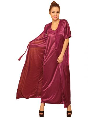 Buy Satin Long Robe In Wine online