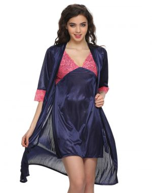 Buy Clovia 2 PCs Satin Nightwear Set In Blue - Short Robe & Nighty Nsm294g08- Free Size online