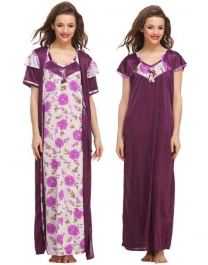 Buy Clovia 3 PCs Satin Nightwear In Purple Nsm423p12- Free Size online