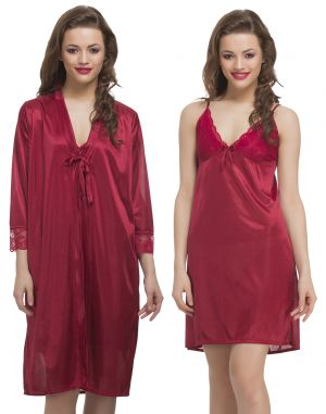 Buy Clovia Satin 2Pc Nightwear Set In Maroon online