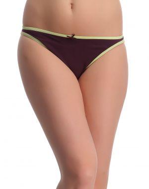 Buy Clovia Black Cotton Lycra Bikini With Light Green Highlights -(product Code-pn0161p11) online