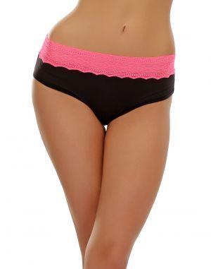 Buy Clovia Trendy Lacy Brief In Black & Neon Pink Pn0381p13 online