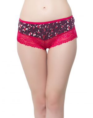 Buy Clovia Polyamide, Lace Lacy Boy Shorts In Hot Pink online