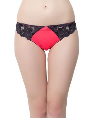 Buy Clovia Polyamide With Spandex And Lace Pink Lacy Low Waist Thongs online