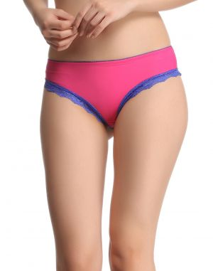 Buy Clovia Bikini In Pink With Contrast Lace Pn0460p14 online