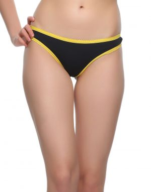 Buy Clovia Bikini In Black With Yellow Highlight Pn0461p13 online
