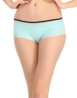 Buy Clovia Blue Boy Shorts With Contrast Waist Elastic Pn0480p08 online