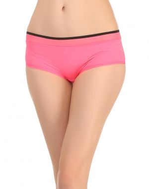 Buy Clovia Shocking Pink Boy Shorts With Contrast Waist Elastic online