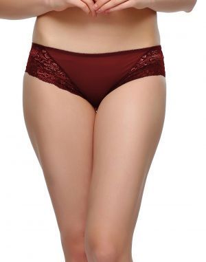 Buy Clovia Lacy Polyamide Bikini In Maroon Pn0487p09 online