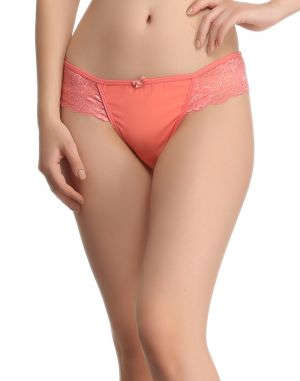 Buy Clovia Lacy Powernet Panty In Coral online