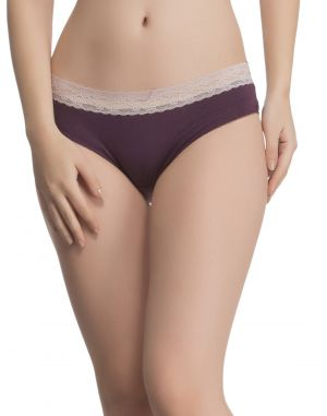 Buy Clovia Lacy Cotton Hipster In Grape Wine online