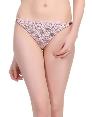 Buy Clovia Sexy Lacy Thong In Light Pink online
