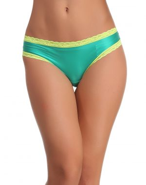 Buy Clovia Thong In Green With Contrast Lace online