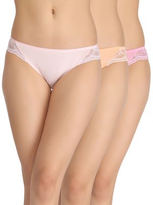 Clovia Set Of 3 Cotton Mid-Waist Bikini With Side Lace Panels - Multicolour
