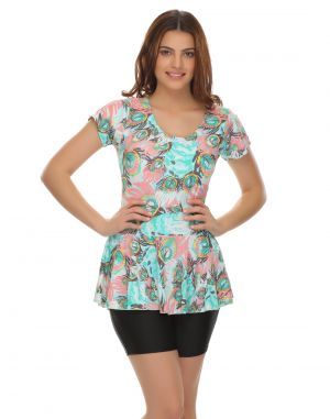 Buy Clovia Polyamide Frock Swimsuit In Trendy Prints online