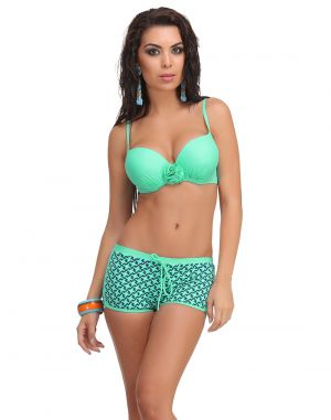Buy Clovia 2 Piece Polyamide Swimsuit Of Padded Bra & Printed Hipster In Turquoise -(product Code- Sm0026p03) online