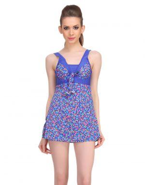 Buy Clovia Polyamide Padded Floral Print Monokini Swim Suit In Blue -(product Code- Sm0030p08) online