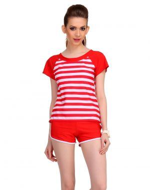 Buy Clovia Polyamide Cute Beach Wear In Red Stripes -(product Code- Sm0038p04) online