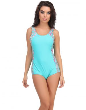 Buy Clovia Polyamide Padded Printed Tankini In Sea Green online
