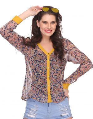 Buy Clovia Chiffon Top In Yellow online