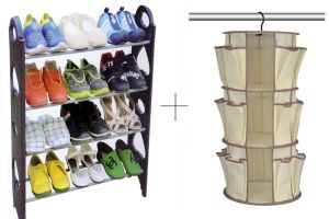 Buy 12 Pair Stackable Shoe Rack With Hanging Shoe Rack online