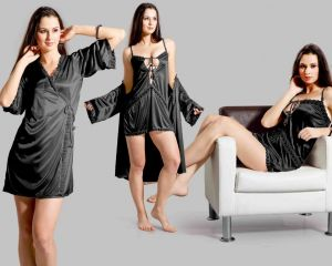 Buy Black Satin Comfortable To Wear 3/4 Nighty 2 PCs online