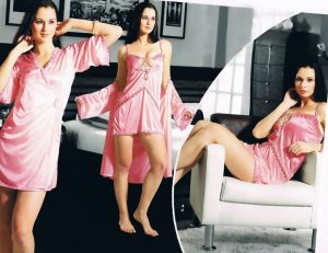 Buy Pink Satin 2 PCs Comfortable To Wear 3/4 Nighty online