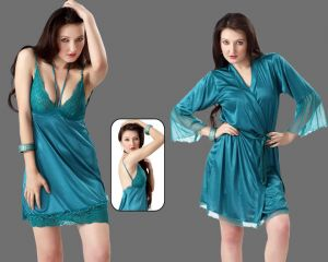 Buy Blue Satin 2 PCs Comfortable To Wear 3/4 Nighty online