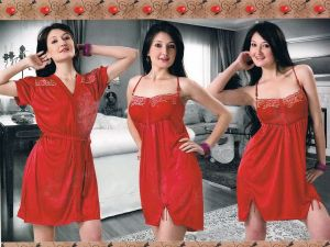 Buy Red Satin 2 PCs Comfortable To Wear 3/4 Nighty online