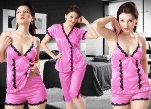 Buy Pink Satin 4 PCs Comfortable To Wear 3/4 Nighty online