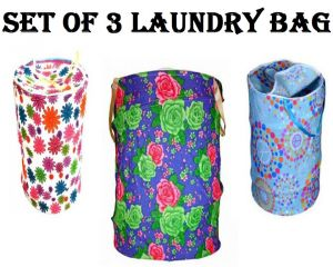Buy Set of 3 Multicolor Attractive Round Shape Foldable Laundry Bag online