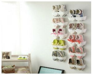 Buy White Shelf Stick On The Wall For Footwear Collection 10 Pieces - Stkw10w online