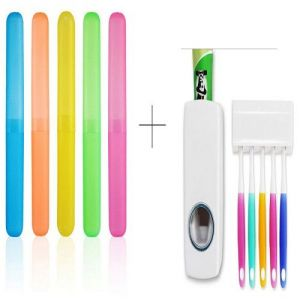 Buy Buy 5 Pcs Toothbrush Case Holder Cover Box Tube With Free 1 Pc Automatic Toothpaste Dispenser online