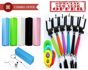 Buy Combo Offer- 2600 mAh Power Bank And Selfie Stick Wireless Remote online